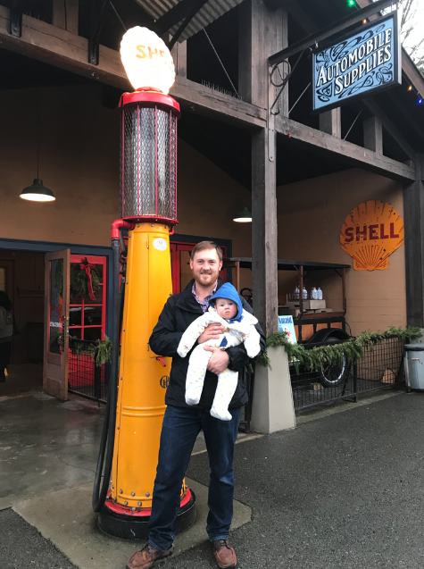 Ian with his son. This pump is the same pump from the 1928 Shell newspaper ad.