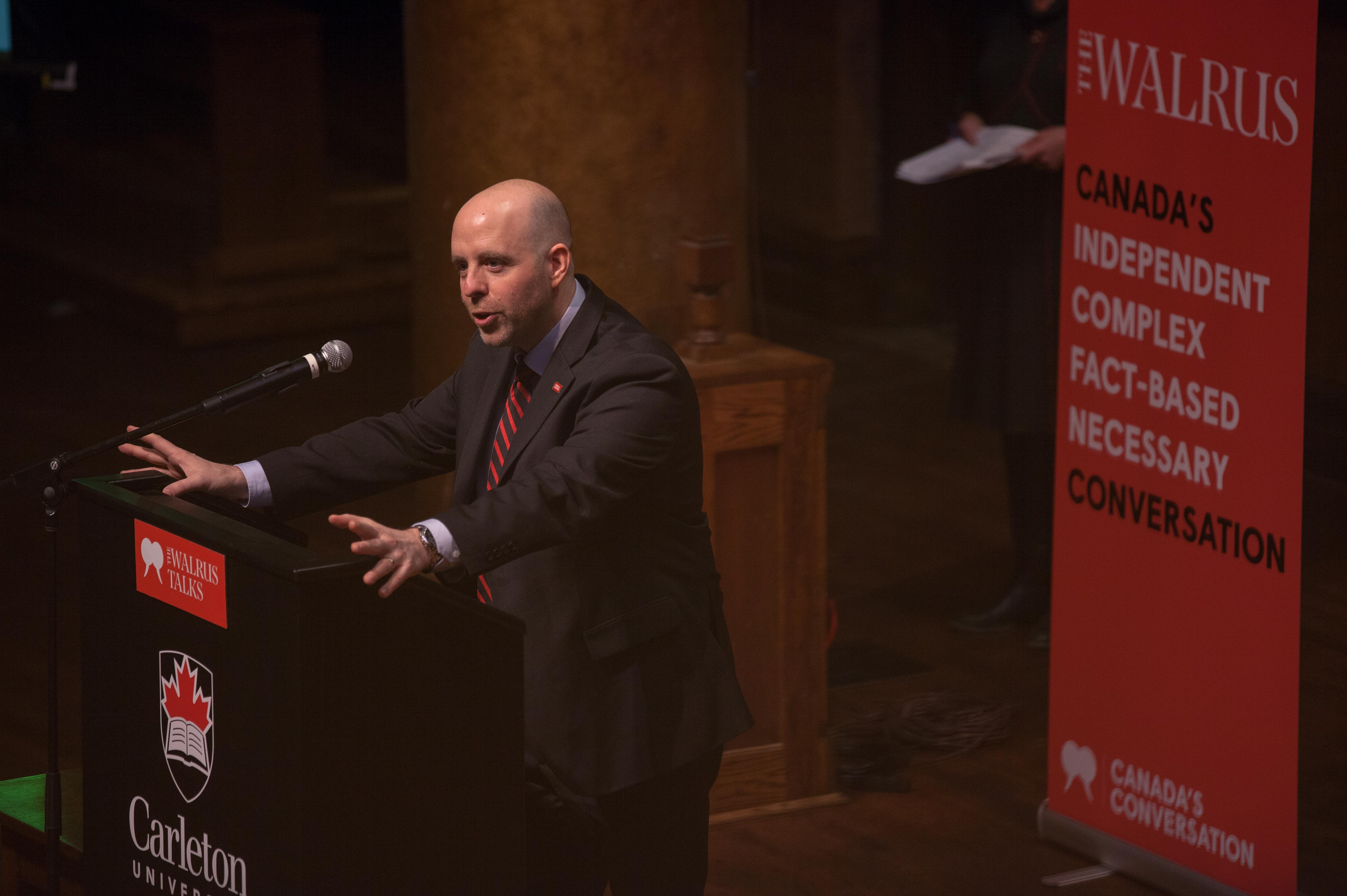 """Carleton President Benoit-Antoine Bacon discusses """"smart philanthropy"""" in a speech he delivered to an enthusiastic crowd for The Walrus Talks, an event held at CDCC."""