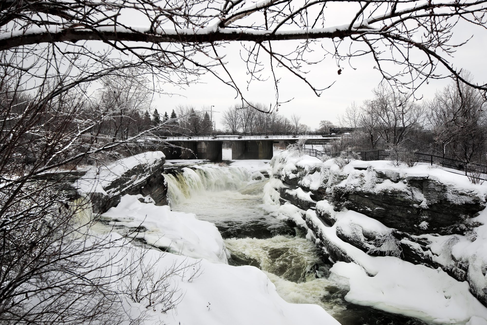 A frozen Hog's Back Falls, steps away from the Carleton Campus.