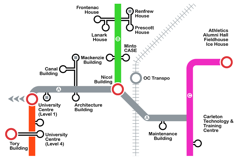 Map of the tunnel system at Carleton University