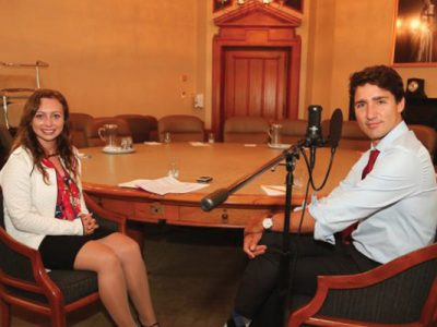 Photo for the news post: Carleton Journalism Student Interviews Prime Minister