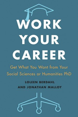 The Work Your Career book cover features a graduation cap and office chair wheels