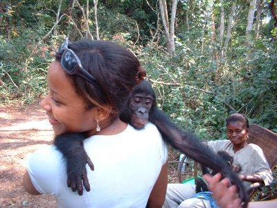 Candace Sobers at a Bonobo Sanctuary