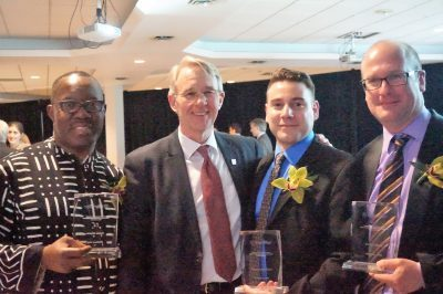 Professor Geiger (right) posing with Provost Peter Ricketts and award winners Professor Christopher Dieni and Professor Nduka Otiono.