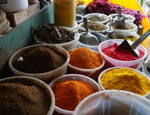 Colourful spices in a market stall.
