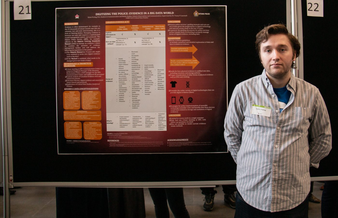 Dylan Freitag stands in front of his poster.