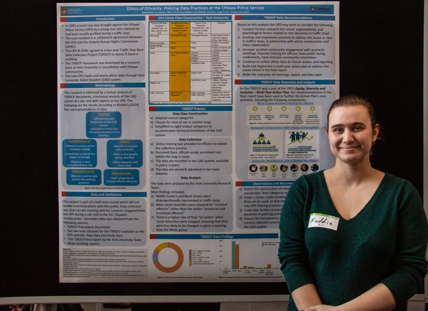 Madeleine Le Jeune stands in front of her poster.
