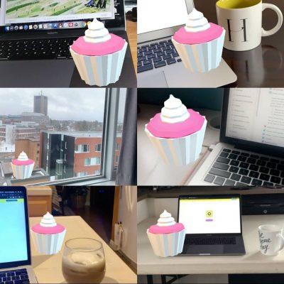 Augmented Reality - Photos of a virtual cupcake
