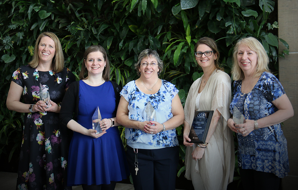 2018 Awards Winners from left to right: Melanie Coulson – (Teaching Excellence), Stephanie Carvin – (Public Commentary), Marilyn Ginder – (Staff Excellence), Mira Sucharov – (OFUCA Award), Laura MacDonald - (Research Excellence). Not pictured: Gopika Solanki – (Teaching Excellence).