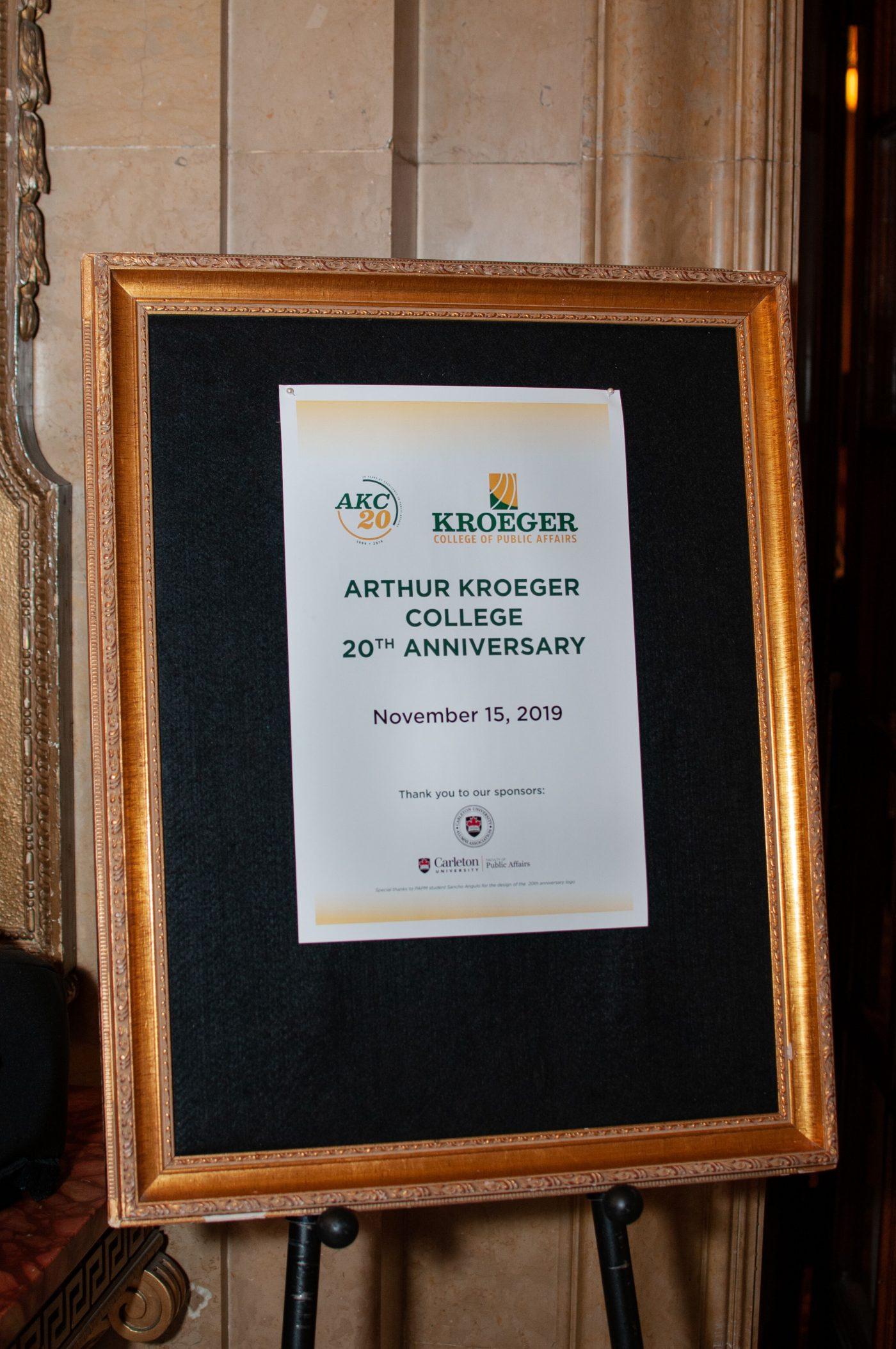 framed program from Kroeger College anniversary