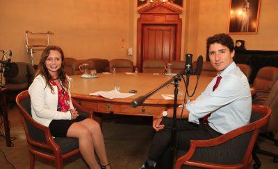 Anna Desmarais with Prime Minister Justin Trudeau.