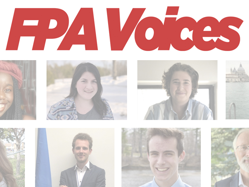 FPA Voices Logo and graduate photos