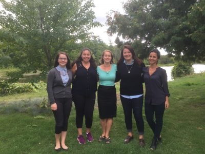 Lab team stands outside - members of photo appearing from left to right: Isabelle Leduc-Cummings (MA Student), Shelby Levine (MA Student), Dr. Marina Milyavskaya (Lab Director), Kaitlyn M. Werner (PhD. Student) and Leyla Bagheri (MA Student).