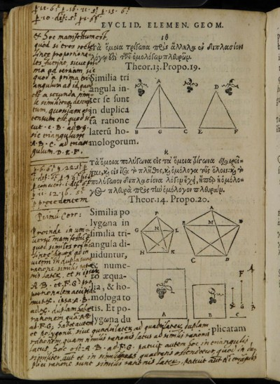 Euclid's Elements of Geometry, in the original Greek with a Latin translation. Printed 1558. Manuscript annotations by Galileo Galilei. Biblioteca Nazionale di Firenze. (Image used under Creative Commons 3.0 License).