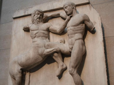 Centaur and Lapith in combat. Parthenon Metope. British Museum, London.