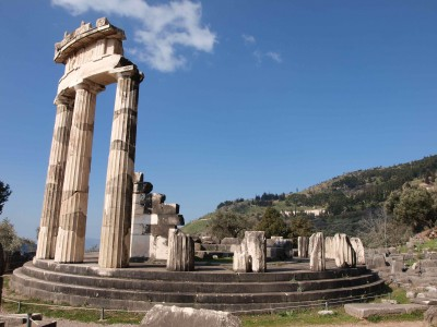 The 'Tholos' temple of Athena Pronoia, at Delphi, Greece. 380—360 B.C.E.