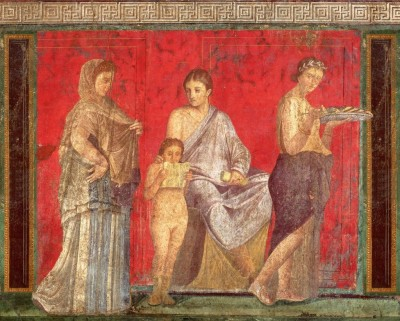 Frescoe in the Villa of the Mysteries, Pompeii, Italy. Buried by the eruption of Mt. Vesuvius, C.E. 79.