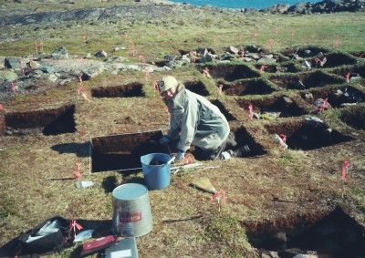 GRS student on a excavation in the Canadian Arctic