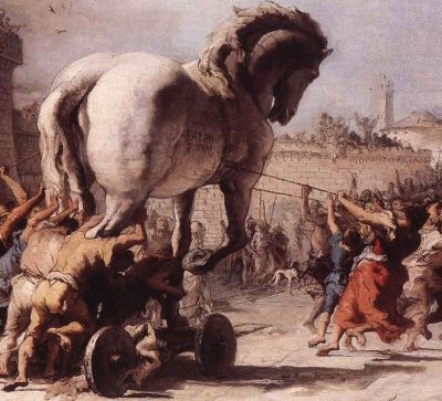 "Detail from ""The Procession of the Trojan Horse in Troy"" by Giovanni Domenico Tiepolo"