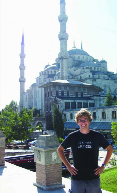 Carleton Student on exchange in Istanbul, Turkey. Background: Hagia Sophia, constructed 537 C.E.