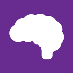 Healthy Minds Phone App Icon: White brain with purple background