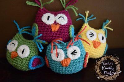 Crochet Owls made by Robin Dunbar