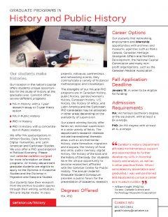 brochure for graduate programs in History