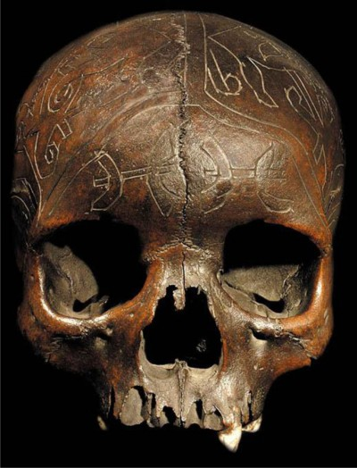 Dayak carved trophy skull. Image courtesy of a US gallery.