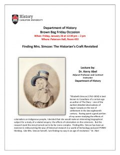 poster for event with drawing of Mrs. Simcoe