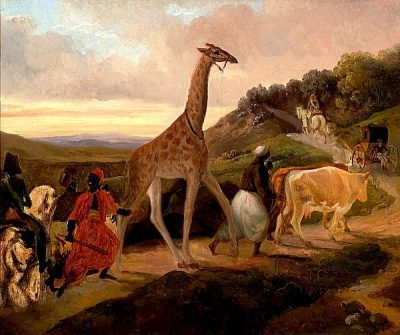 painting of a giraffe crossing