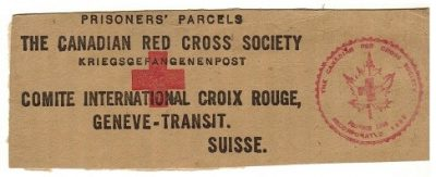 black text on brown kraft paper showing a postal stamp