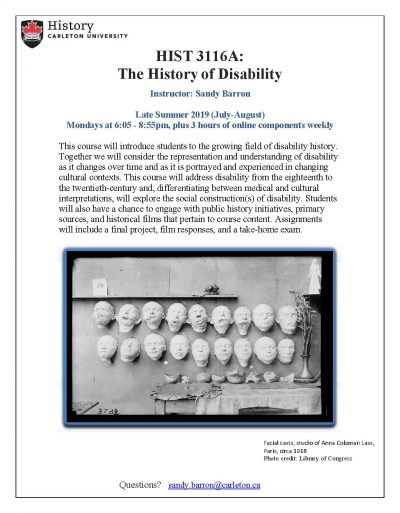 poster to promote the course including a black and white photo of facial casts in white plaster