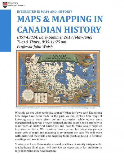 course promotion poster with old map of Canada