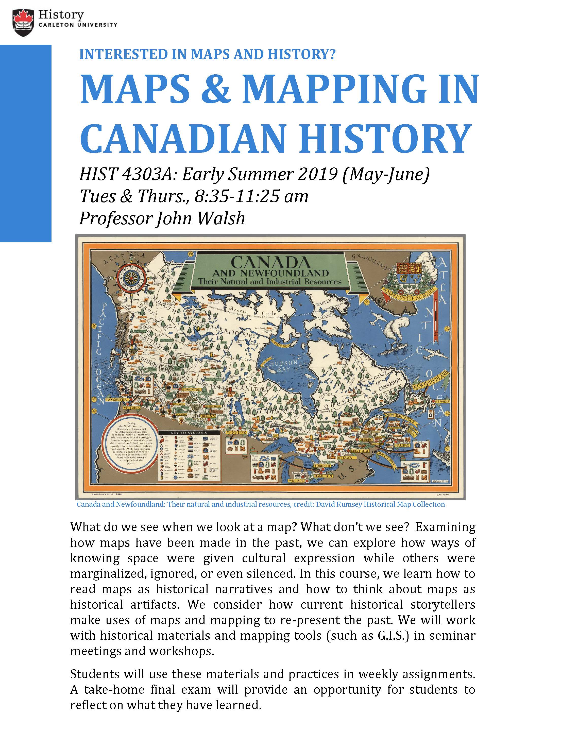 Map Of Canada History.Hist 4303a Maps And Mapping In Canadian History Summer 2019