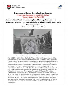 History of the Mediterranean lecture poster with picture showing a procession and a framed photo of a man