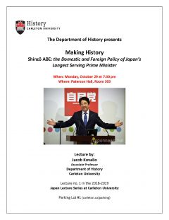 Japan Lecture Poster with photo of Shinzo Abe