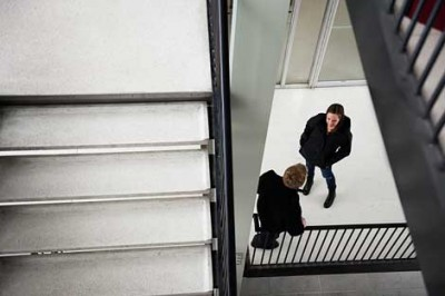 students in stairwell