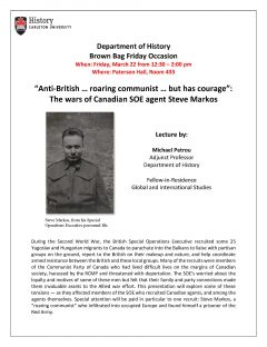 event poster for lecture by Michael Petrou including a black and white photo of a soldier