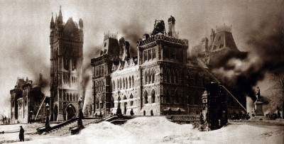 black and white picture of parliament after the fire