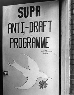 grey picture of a program with a dove drawn on it