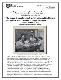 Poster for Jill Campvell-Miller talk showing photo of graduate nurses in a classroom