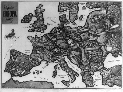 1914 German satirical map of Europe