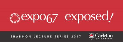 Expo 67 text on red background