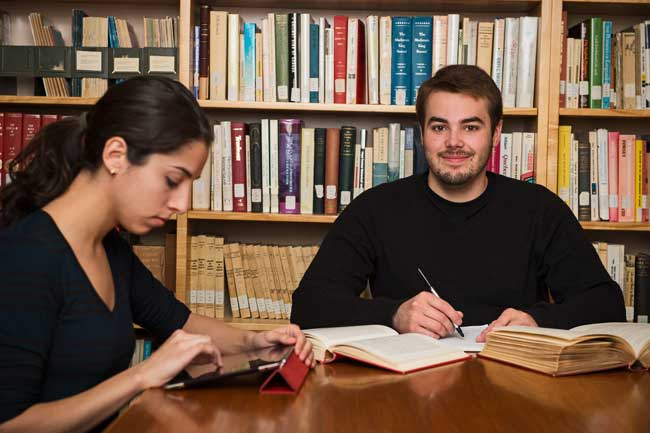 students in underhill library