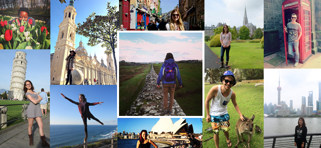 Exchange collage of photos of students around the world