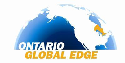 Ontario Global Edge: half globe with province of Ontario highlighted in gold