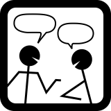 two stick men chatting