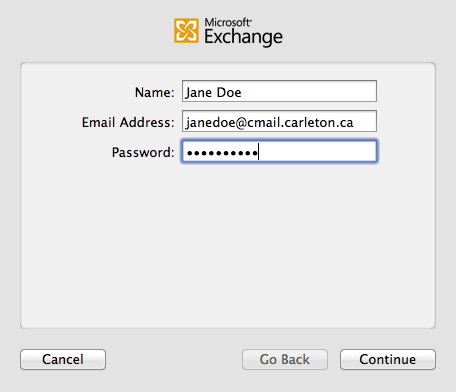 Image of configuration for mail.app showing address and password entry