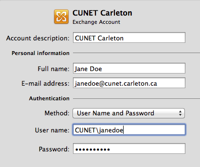 Image of MS Outlook configuration showing sample address, userid, and password entry