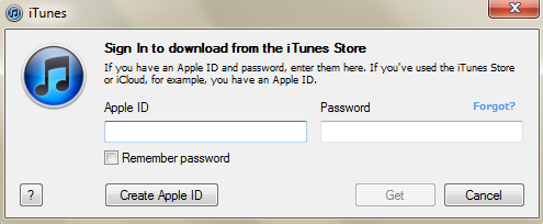 Dialog prompting for iTunes account, iCloud account, or AppleID